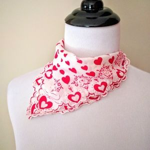 Vintage sweet hearts square handkerchief scarf
